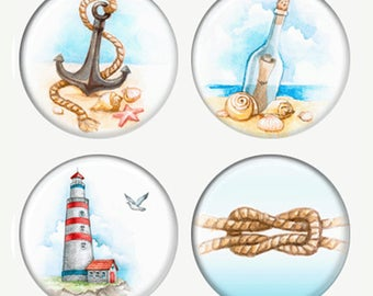 Summer Watercolor Magnets or Pinback Buttons or Flatback Medallions Lighthouse Knot Message In A Bottle Anchor On The Sand
