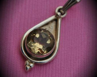 Genuine Solid Sterling Silver Round Citrine Drop Stone