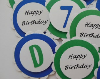 Personalized Birthday Cupcake Toppers - Happy Birthday Cupcake Toppers - Green, White and Blue - Boy Birthday Party Decorations