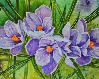 Watercolor painting original fine art painting floral painting framed painting floral watercolors flower art purple crocus painting colorful