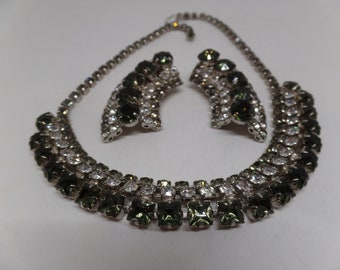 Fabulous Vintage Black Diamond Crystal Necklace Set