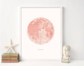 Pink Moon Art Print,Pink Girl Art Print,Girl Baby Shower Gift Ideas,Celestial Pink Moon Art,Unique Baby Girl Shower Gift Ideas,Nursery Art