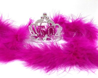 Silver 50th Birthday Tiara and Boa