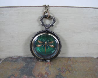 Dragonfly Locket Pendant Necklace/ Captured Dragonfly Necklace/Pocket watch With Dragonfly