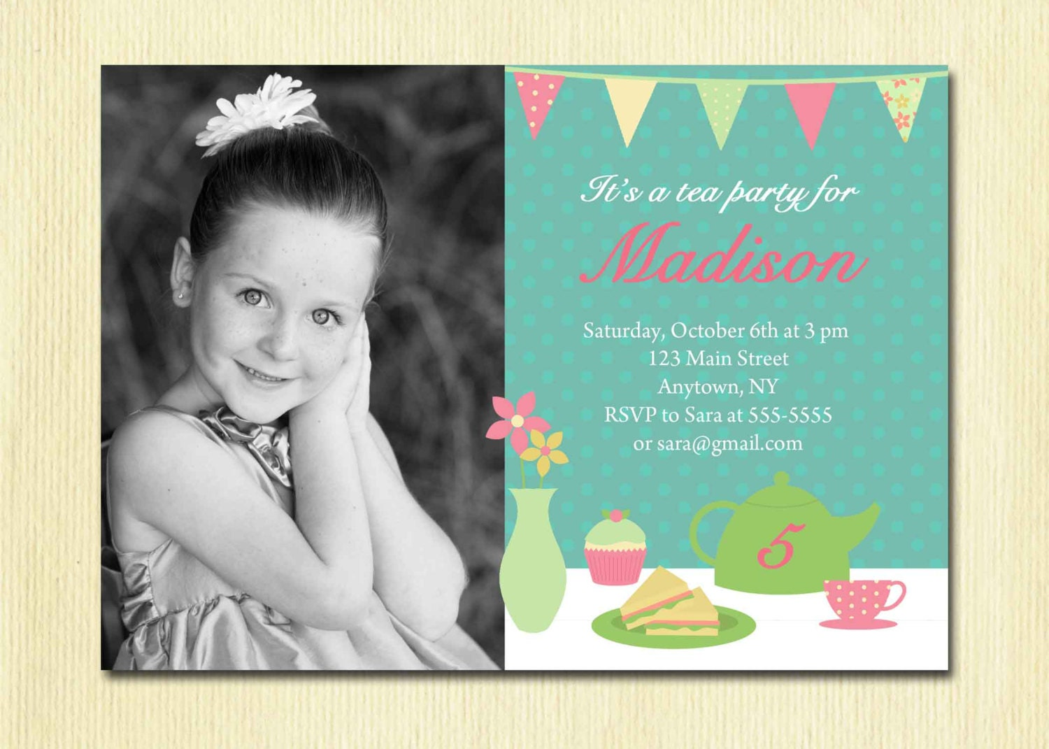 Girls tea party invitation birthday girl diy printable zoom stopboris Image collections