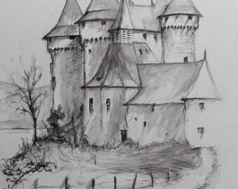 Aquarelle en dessin et lavis le Chateau de Val