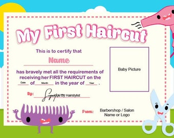 Baby first haircut photo certificate haircut certificate first haircut certificate baby haircut certificate 8x11 photo certificate printable file only 559 yelopaper Image collections