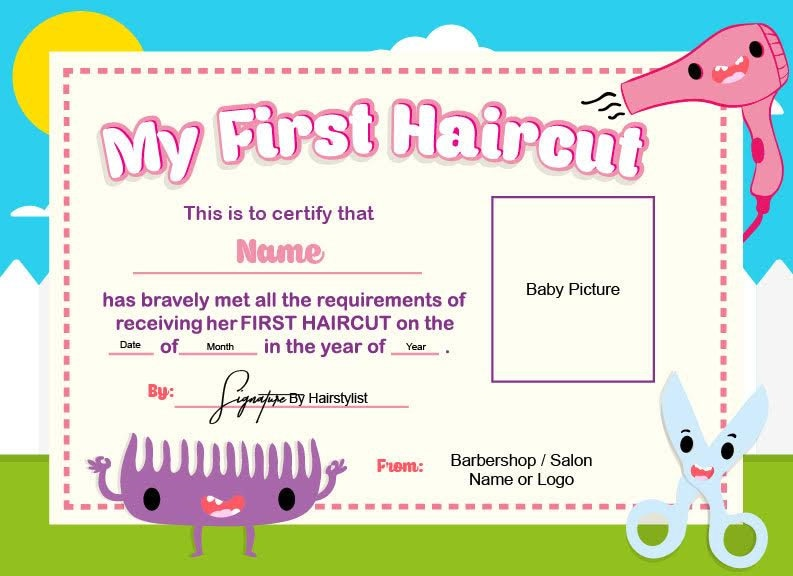 First haircut certificate baby haircut certificate 8x11 for My first haircut certificate template