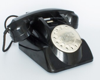 Vintage Philips telephone desk model 1955 bakelite Batphone with rotary dial and handset