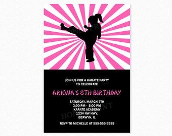 Karate Birthday Party Invitation, Ninja Birthday Party Invitation, Girl Karate Invitation, Taekwondo Invitation, Printable and Printed