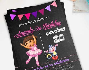 INSTANT DOWNLOAD- Children's invitation dora the explorer- 5 year invitations- Chalk and chalkboard
