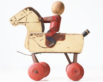 Vintage Toy Horse on Wheels, Primitive Wood Horse and Rider, Hustler Pull Toy