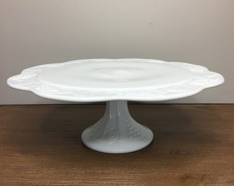 Vintage Milk Glass Round Pedestal Cake Stand - wedding, baby shower