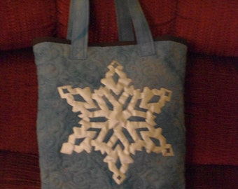 Reusable Silver on Blue Snowflake Gift Bag