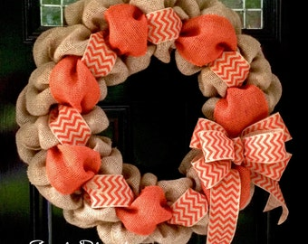 Orange and Natural Chevron Burlap Wreath 22 inch for front door or accent - Fall, Tennessee
