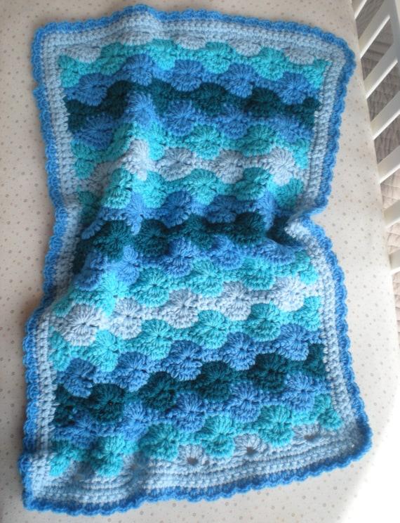 Items Similar To Crochet Baby Blanket Ocean Waves Quick Cozy