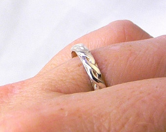 Sterling Silver Braided Rope Motif ring size 12