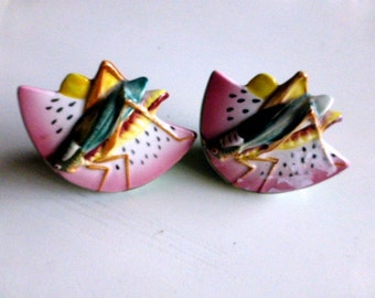 MCM Japan Watermelon and Grasshopper Salt and Pepper Shakers
