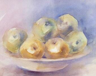 Acuarela ORIGINAL, título MANZANAS.  Medidas 44x32. Tema frutas.