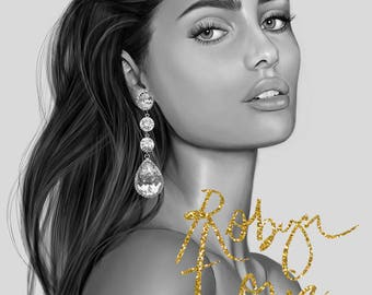 Taylor Hill - black and white - portrait fashion beauty illustration - by Robyn Toria