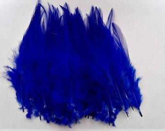 set of 10 dark blue feathers 10-15cm