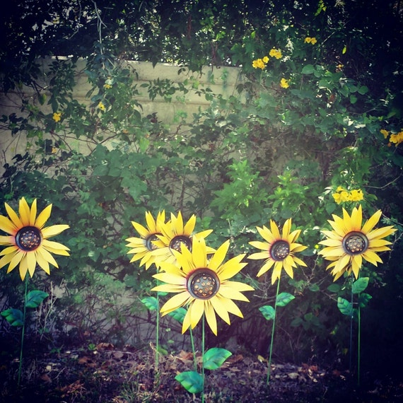 Metal Garden Stakes Sunflower Metal Yard Decorations