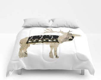Comforter, My New French Coat Deer, bedding  twin, full/queen and King sizes