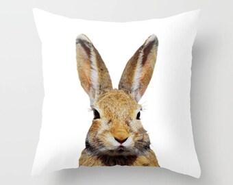 Bunny, Rabbit Pillow, wildlife, bunnies, cute, animal, minimalist by Kathy Morton Stanion EBSQ