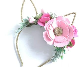 Pink Floral Bunny Ears Headband. Some Bunny is One Birthday Party Crown.  Pink Easter Bunny Headband. Rabbit Ears Felt Flower Headband.