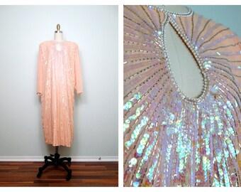VTG Peach Sequined Dress // Pastel Iridescent Embellished Trophy Dress // Plus Size Sequin Dress