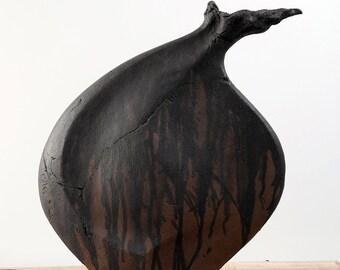 The Seed - Black Clay - Ceramic Sculptural Vessel - Interior Design Ideas