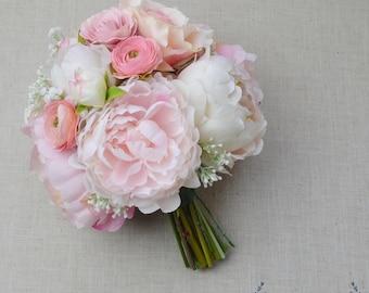 Bridal Bouquet, Silk Bouquet, Wedding Bouquet, Wedding Flowers, Artificial Bouquet, Peony Bouquet, Pink Bridal Bouquet, Faux Bouquet, Pink