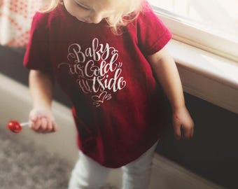 Baby It's Cold Outside American Apparel Cotton Tee Shirt - Size 6 - Cranberry Color T-shirt - Kids DearSeed - Dear Seed -Handlettered