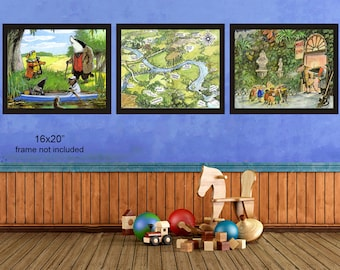 Wind in the Willows Print - Nursery Decor - Wind in the Willows Map - Discount Set of Three - Nursery Art #vi1060