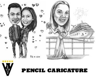 Pencil Caricature, Cartoon from Photo (Full Body), Caricature from Photo, Black and White Caricature