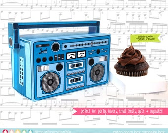 Boom Box - BLUE, cupcake box, party favor box, 40th Birthday, 30th Birthday | Instant download DIY Printable PDF Kit