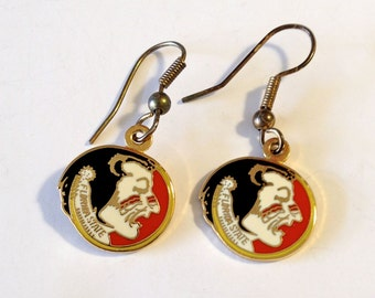 Florida State Earrings - Red , Black , white and Gold - Enamel Cute Little Dangle Earrings