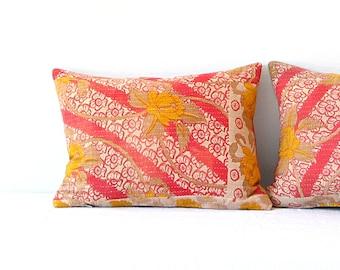 Pillow/ Vintage Kantha Fabric Pillow Boho Pink Floral Brown Stripe