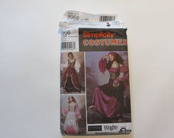 Simplicity Costumes Pattern # 9966: Misses' Gypsy Costume, Size RR (14-16-18-20) Partially Cut