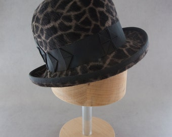Women's Bowler Hat. Designer Millinery Giraffe Print Fur Felt Hat. Ladies Derby. Steampunk Bowler. Free Shipping. Animal Print Felt Hat.