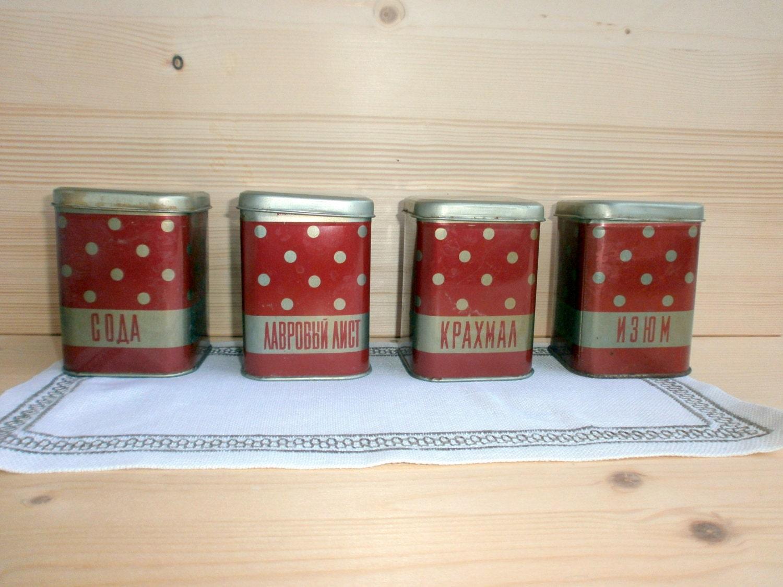 Vintage alte Polka Dot Metalldosen Behälter rot gold Tee