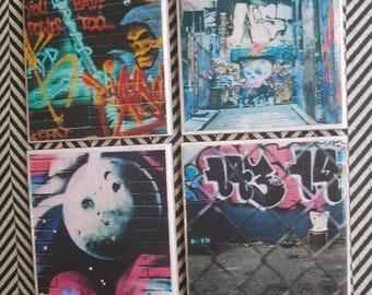 Street Art Ceramic Tile Coasters - set of 4