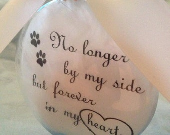Pet Memorial Christmas Ornament - In Memory Gift - No Longer By My Side Forever in My Heart - Loss of Cat - Personalized Dog Keepsake