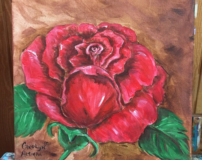 A Single Red Rose Painting | Red Rose Acrylic Painting