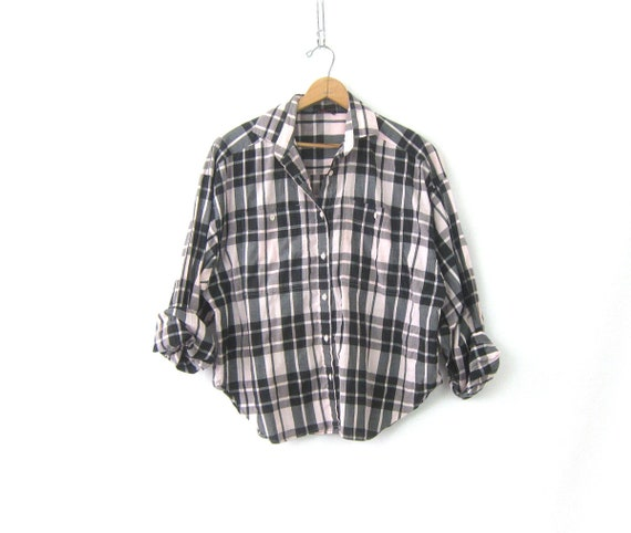 80s Pink & Gray Plaid Collar Shirt Button Up THIN Oversized Oxford Top Long Sleeve Vintage Preppy Blouse Women's Plus Size 40