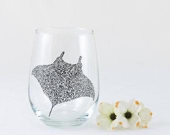 Manta Ray stemless wine glass, Hand painted, Sting Ray, Ocean, Nautical, Beach decor