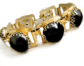 Victorian Bookchain Bracelet Black White Milkglass Vintage Collectible Jewelry Antique Victorian Style Bookchain Bracelet Gift For Her
