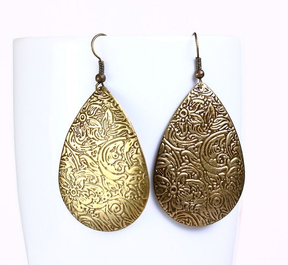 Antique brass filigree drop dangle earrings (543)