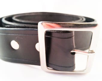 Black leather nickel hardware belt - men's fashion belt - women's accessories - unisex belt - unisex belt - large belt - genuine leather