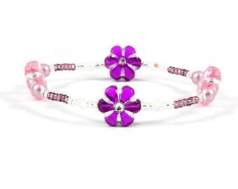 Girls Flower Bracelet - Children's Stretch Jewelry - Child's Seed Bead Bracelet - Kids Beaded Jewelry